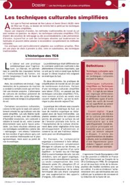 Première page Dossier TCS CR Infos 171 pour les 10 ans du festival du non labour et semis direct
